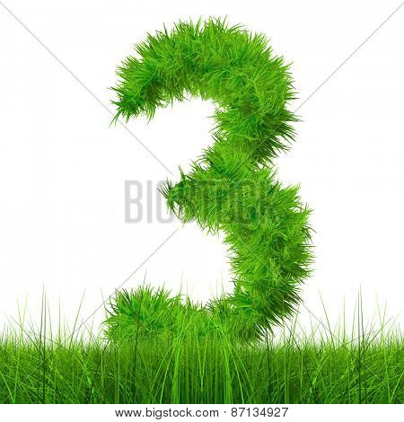 Concept or conceptual green grass, eco or ecology font isolated on white background