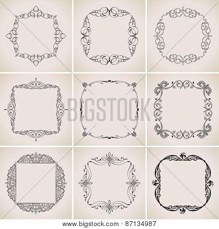 Calligraphic frames set and page decoration ornament. Vector vintage illustration elegant