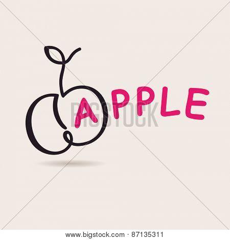 Apple logo. Vector logo freehand drawing art