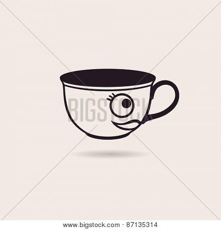 Vector smiling cartoon cup of tea or coffee funny icon