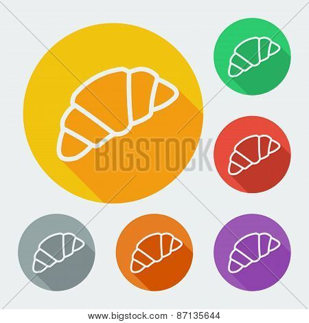 Croissant icon. vector illustration with long shadow