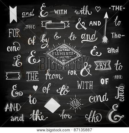 Vintage Style Hand Lettered Ampersands and Catchwords for Logo and Label Designs. Chalkboard Style.