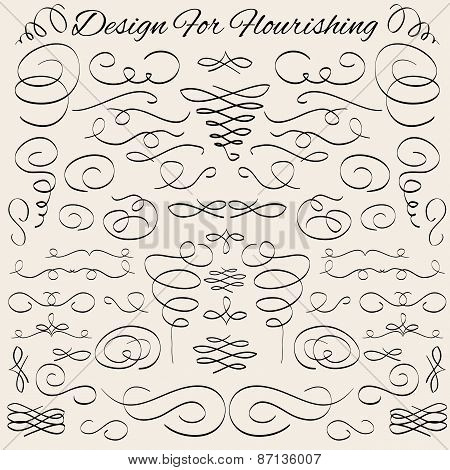Vector design elements. Hand-drawn flourishes. Typographic and calligraphic.
