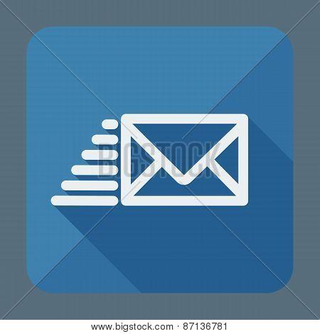 Flying envelope. Flat style square illustration. Vector Illustration.