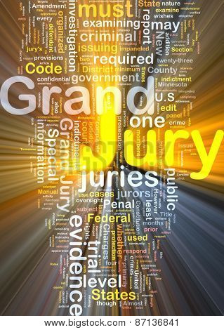 Background text pattern concept wordcloud illustration of grand jury glowing light