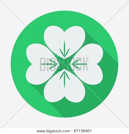 Flat style icon with long shadow, clover vector illustration.