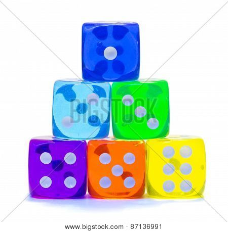 Pyramid of multicolored dice.