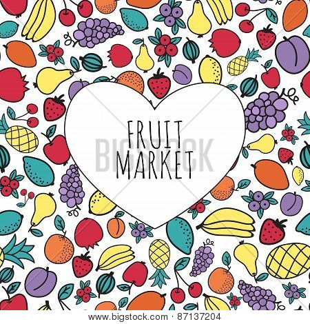 Hand-drawn fruit market concept. Heart shape with fruits. Vector illustration