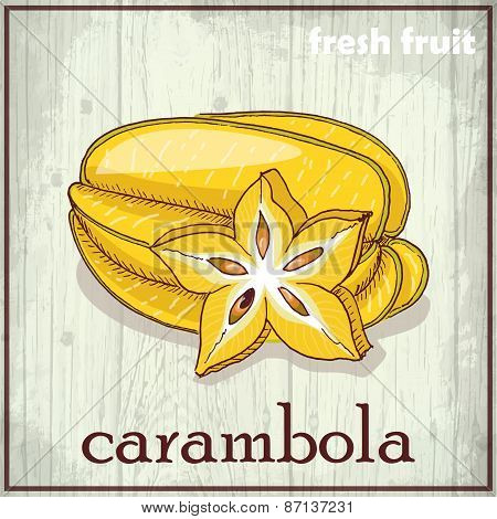 Hand Drawing Illustration Of Carambola. Fresh Fruit Sketch Background