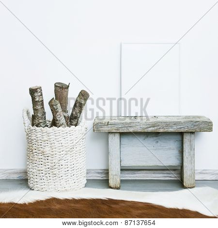 White Frame With Place For Text. Mock Up.  Hipster Scandinavian Style Room Interior.