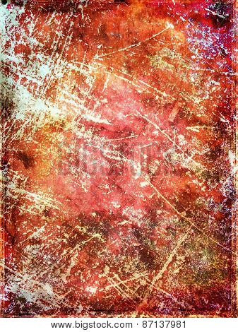 Red Scratched Grungy Background