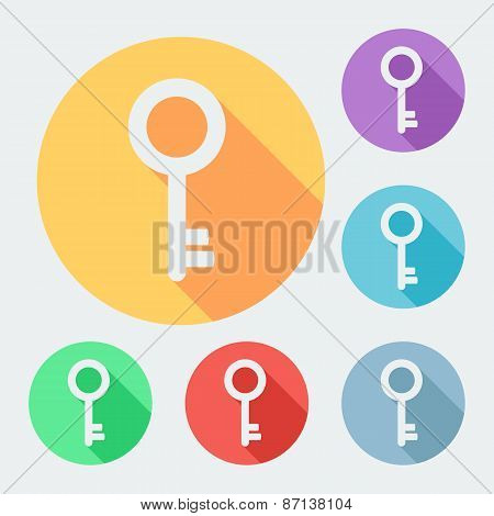 Flat style key icon with long shadow, six colors, vector illustration
