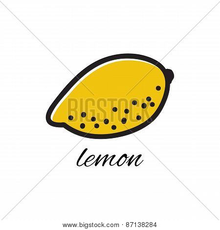 Hand drawn lemon in doodle style. Vector illustration.