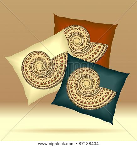 Set Pillows with ornament shell yellow brown dark blue  colors