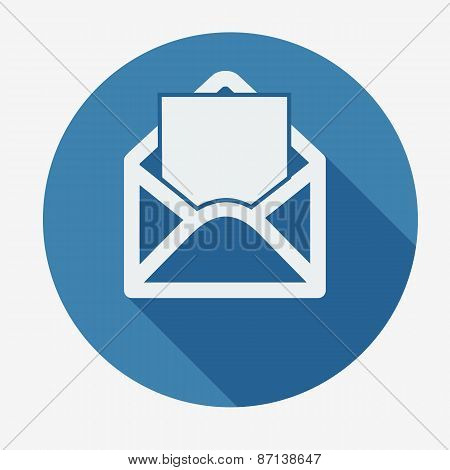 Mail icon, open envelope. Flat design vector illustration.