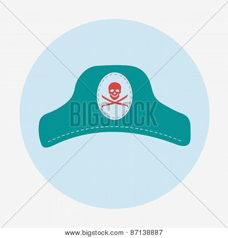 Pirate icon,captain hat. Flat design vector illustration.