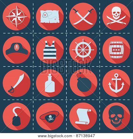 Set of pirate or sea icons, vector illustration.