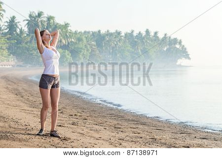 Woman Looking On The Sea