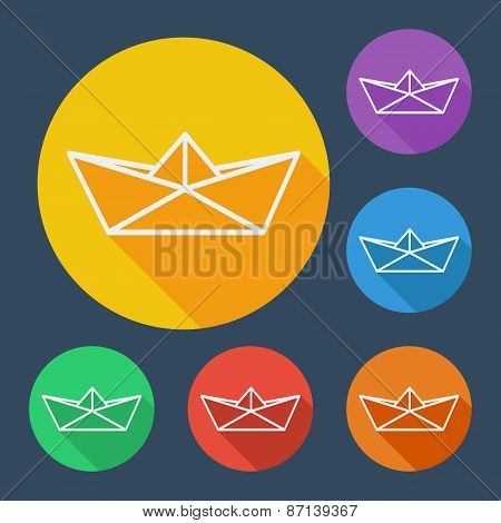 Paper ship flat icons set with long shadow. Vector illustration