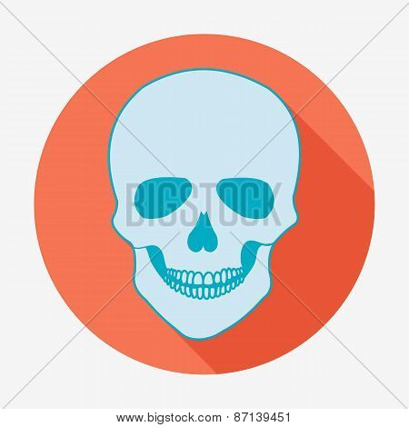 Single flat skull icon with long shadow. Vector illustration