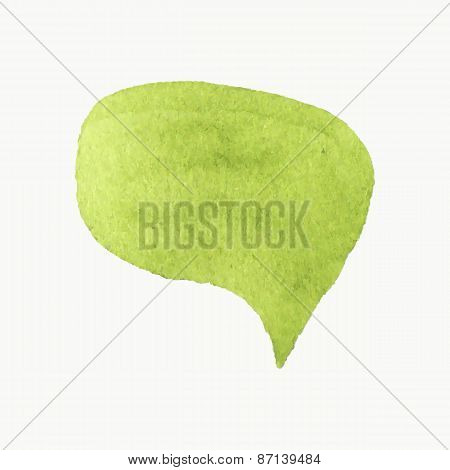 Hand-drawn speech bubble. Real watercolor drawing. Vector illustration.