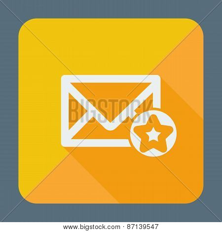 Mail icon, simple star. Flat design vector illustration.
