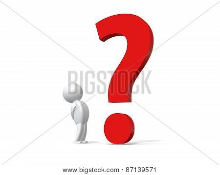 3d human with a red question mark