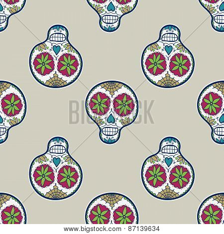 Seamless pattern with sugar skull. Vector illustration. Hand-drawn background.