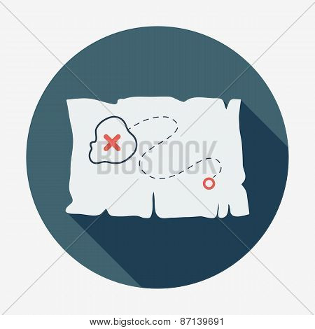 Pirate or sea icon, treasure map. Flat design vector illustration.