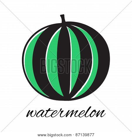 Hand drawn watermelon in doodle style. Vector illustration.