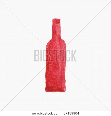 Vector illustration. Bottle of red wine. Hand-drawn object. Real watercolor drawing