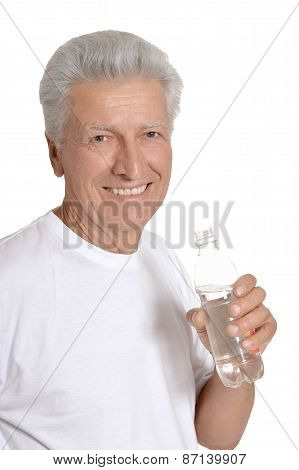 Old man drinks water