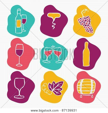 Set of wine making icons, vector illustration. Bottle, corkscrew,grape ripe, glass of wine, grape le