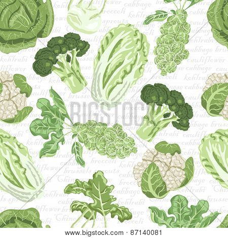 Seamless Pattern With Different Varieties Of Cabbage