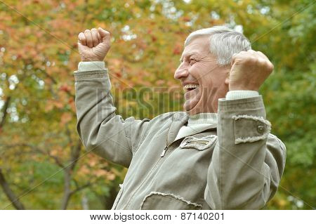 cheerful elderly man