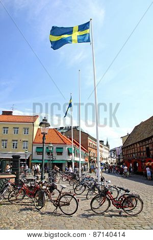 Lilla Torg Square In Malmo City, Sweden