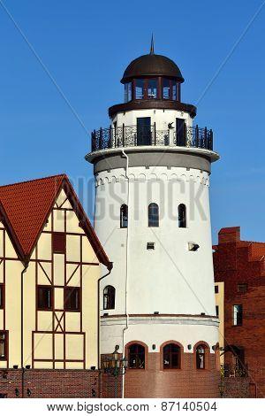 Lighthouse In Fishing Village. Kaliningrad, Russia