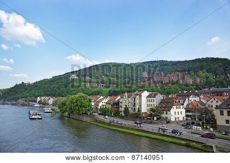 Quay, Traffic And Barges In The River In Summer Heidelberg