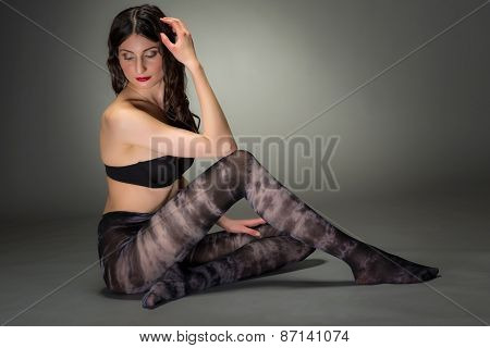 Stylish Shot Of Woman In Fashion Tights