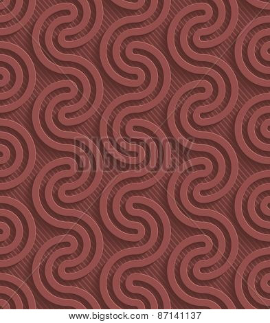 Marsala color perforated paper with cut out effect. Abstract 3d seamless background. Vector EPS10.