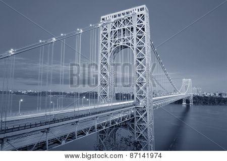 George Washington Bridge black and white over Hudson River.