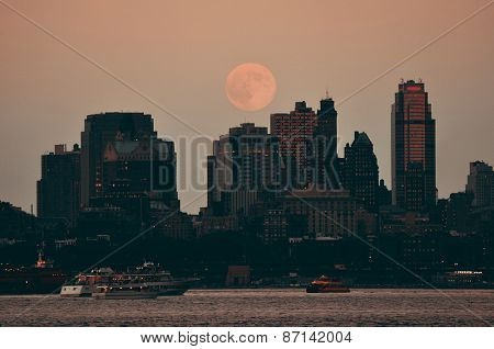 Super Moon and downtown buildings in Brooklyn
