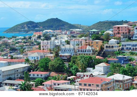 Virgin Islands St Thomas harbor view with islands building and mountain