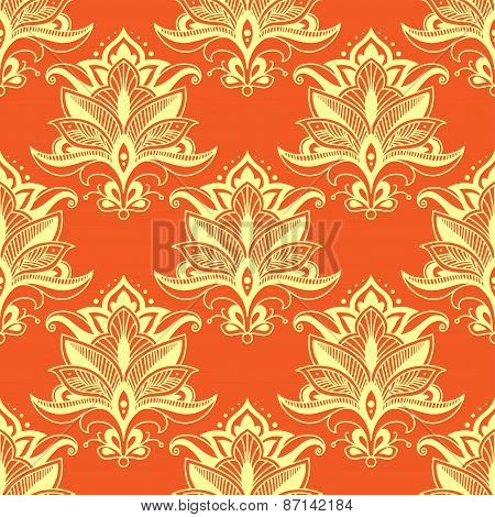 Orange indian stylized paisley floral seamless pattern