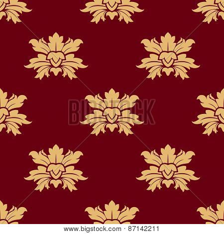 Abstract flowers with tender buds seamless pattern