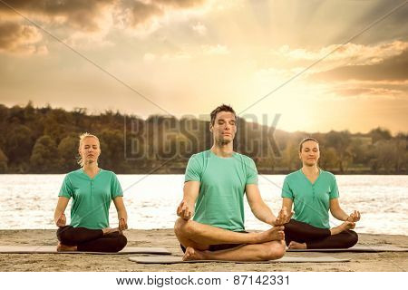 Group of serene people meditating in nature