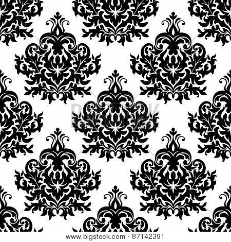 Victorian black lush flowers in damask seamless pattern