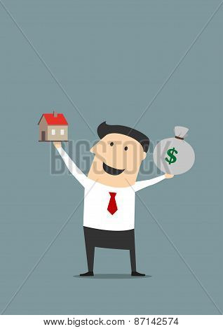 Businessman with money bag and house model