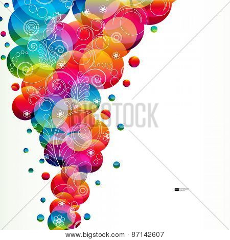 Abstract floral background with bright circles.