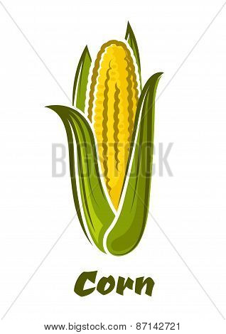 Cartoon yellow corn vegetable on the cob